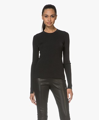 Rag & Bone Sylvie Crew Neck Rib Long Sleeve - Black