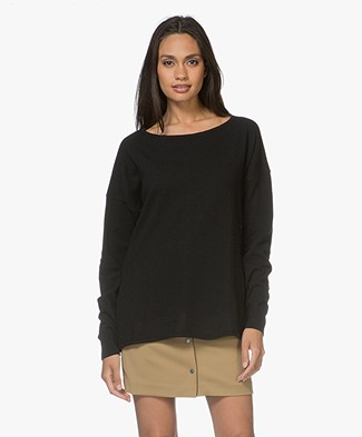 Resort Finest Cashmere Blend Boat Neck Pullover with Buttons - Black