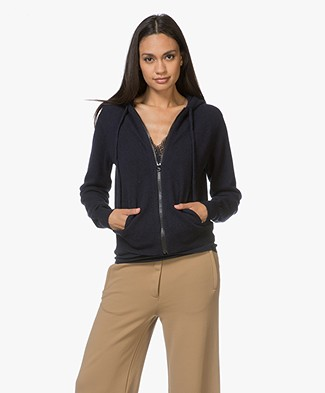 extreme cashmere N°42 Hood Cashmere Knitted Cardigan - Navy