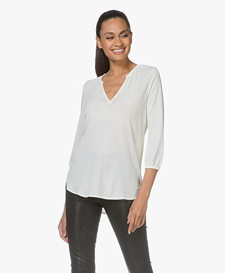 Filippa K Gathered Jersey Blouse - Canvas