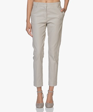 Joseph Zoom Leather Stretch Pants - Greige