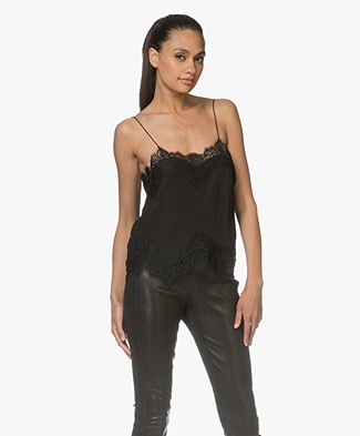 Magali Pascal Libertine Silk Lace Camisole - Black