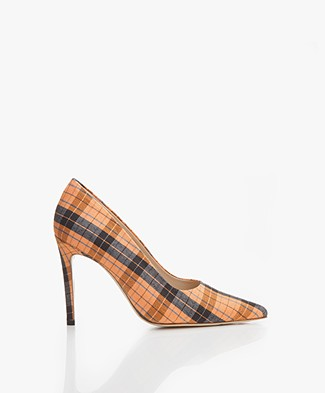 Feraggio Checkered Pumps - Orange/Blue/White