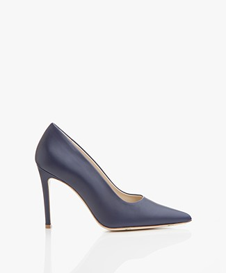Feraggio Smooth Leather Pumps - Indigo