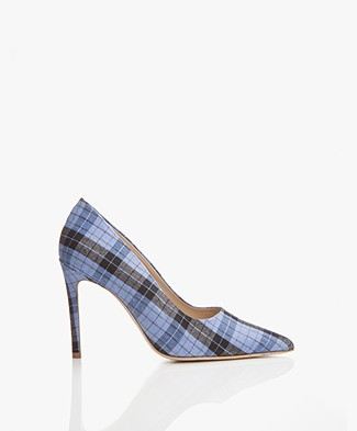 Feraggio Pumps met Print - Blue/Black/White