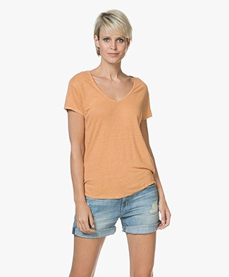American Vintage Lolosister Linen V-neck T-shirt - Abricotine