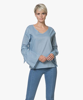 BOSS Equili Chambray Blouse met Flared Mouwen - Turquoise/Aqua