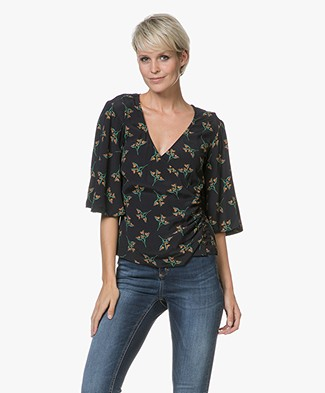 Ba&sh Ferdy Viscose V-neck Blouse - Black