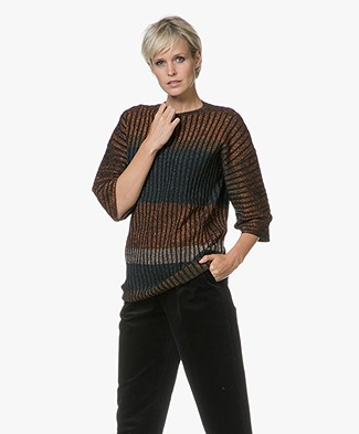 By Malene Birger Mixa Lurex Rib Knitted Sweater - Jungle