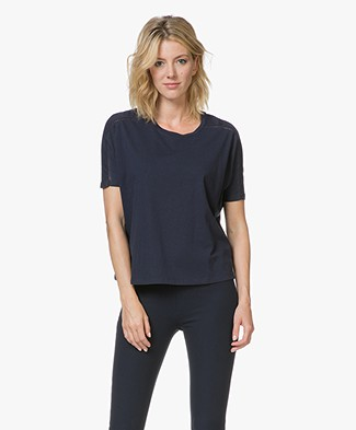 Closed Jersey T-shirt met Crochet Details - Dark Night
