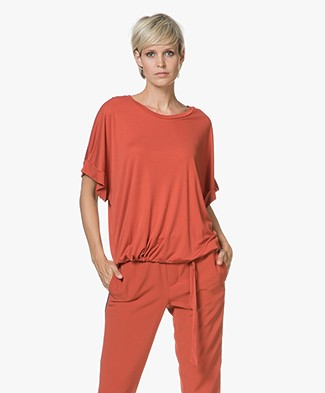 Closed Tencel T-shirt met Strikdetail - Copper