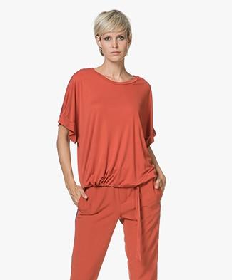 Closed Tencel T-shirt met Strikdetail - Copper