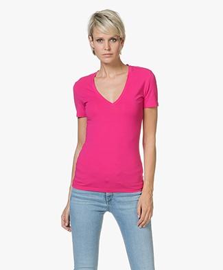 Drykorn Linara V-hals T-shirt - Fuchsia Roze