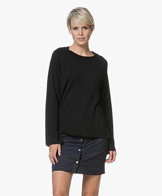 Filippa K Cashmere Split Sweater - Black