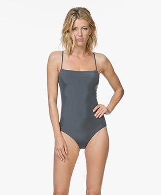 Filippa K Soft Sport Shiny Strap Swimsuit - Pigeon