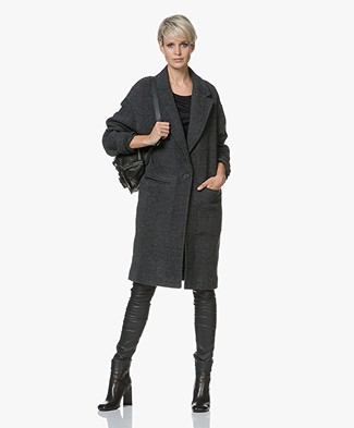 IRO Wire Oversized Wool Blend Coat - Black