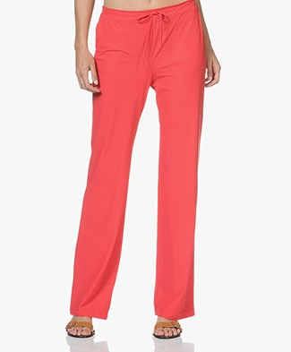 JapanTKY Plyso Wide-leg Jersey Drawstring Pants - Red