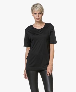 Joseph Silk Crew Neck T-shirt - Black