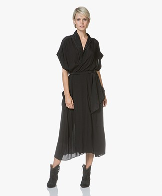 Magali Pascal Lexa Viscose Wrap Dress - Black