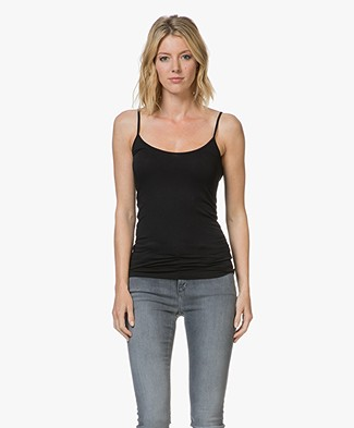 Majestic Anais Soft Touch Jersey Spaghetti Strap Top - Black