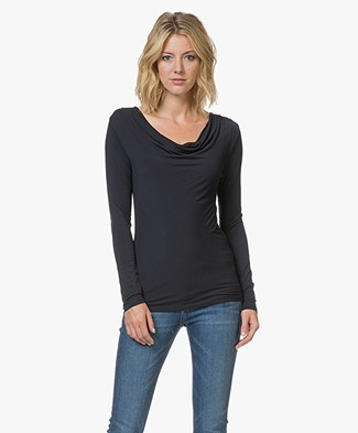 Majestic Anna T-shirt with Waterfall Neckline - Marine