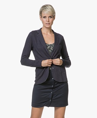 Majestic Daria Blazer in Double-faced Jersey - Marine/Flanelle