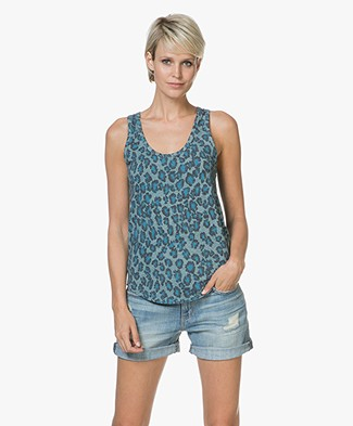 Majestic Jersey Tank Top with Print - Leopard Atlantic Blue