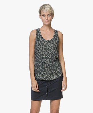 Majestic Jersey Tank Top with Print - Leopard Khaki
