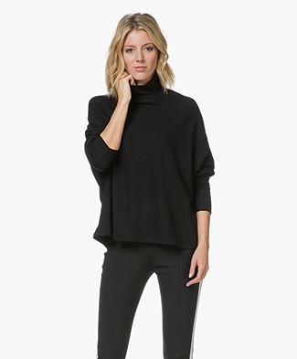 Majestic Oversized Colshirt in Fleece Jersey - Zwart