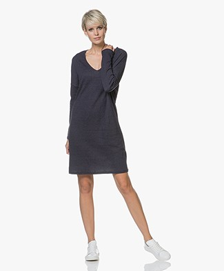 Majestic Sweater Dress in Double-faced Jersey - Marine/Flanelle