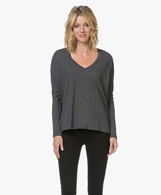 Majestic V-neck Long Sleeve in Deluxe Cotton - Anthracite Melange