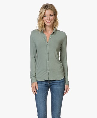 Majestic Viscose Jersey Blouse - New Army