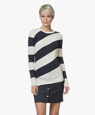 Vanessa Bruno Juluc Fine Knit Pullover - Ecru/Marine