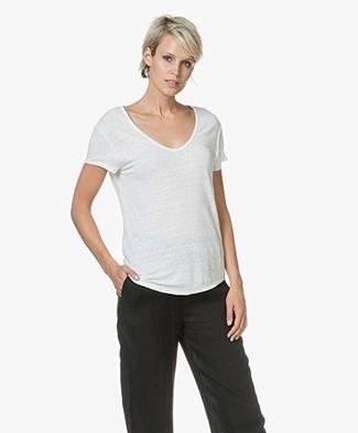 American Vintage Lolosister Linen V-neck T-shirt - White