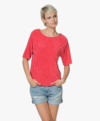 American Vintage Ponpon Velvet T-shirt - Red Berries