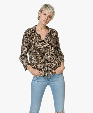 ANINE BING Billie Silk Blouse with Leopard Print - Leopard