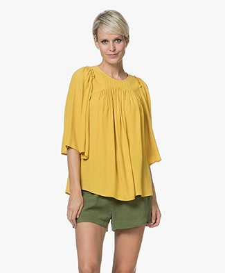 Ba&sh Feather Viscose-crêpe Blouse - Yellow