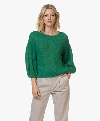 Closed Mohair Blend Sweater with Voluminous Sleeves - Clover