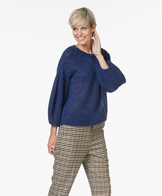 Closed Mohair Blend Sweater with Voluminous Sleeves - Japanese Blue