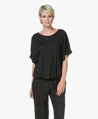 Closed Tencel T-shirt met Strikdetail - Zwart