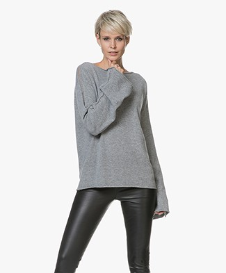 Fine Edge Open-worked Trumpet Sleeve Sweater - Grey