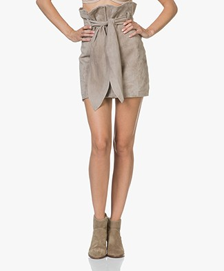 IRO Brassi Suede Pencil Skirt with Tie Belt - Clay