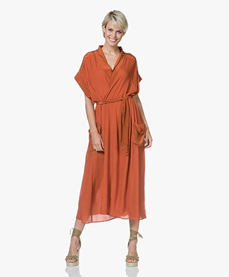 Magali Pascal Lexa Viscose Wrap Dress - Morange
