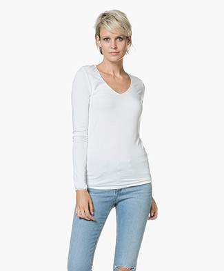 Majestic Filatures Agnes V-neck Jersey Long Sleeve T-shirt - White