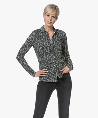 Majestic Jersey Blouse with Print - Leopard Khaki