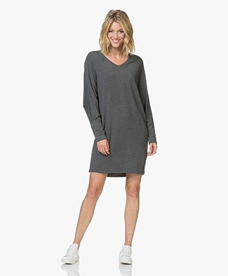 Majestic Filatures V-neck Sweater Dress in Fleece Jersey - Flanelle
