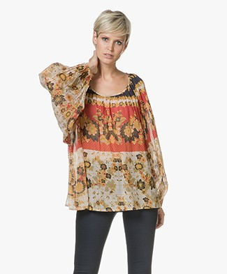 Mes Demoiselles Marushka Blouse in Cotton Voile - Floral Combo