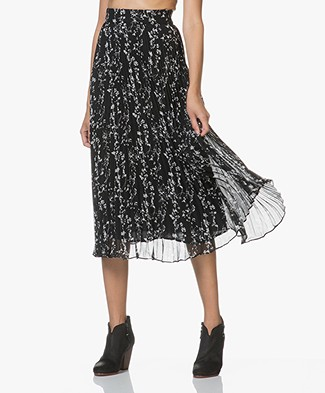 ba&sh Sina Plisse Skirt with Print - Black