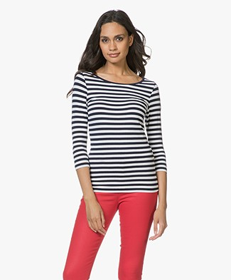 HUGO Dannela Striped T-shirt with Cropped Sleeves - Navy/White