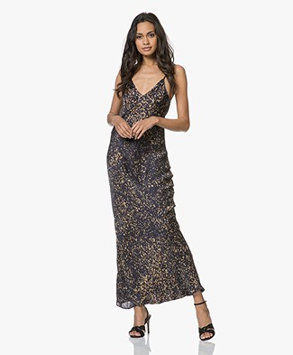 Mes Demoiselles Grenelle Satin Maxi Printed Dress - Black Dot